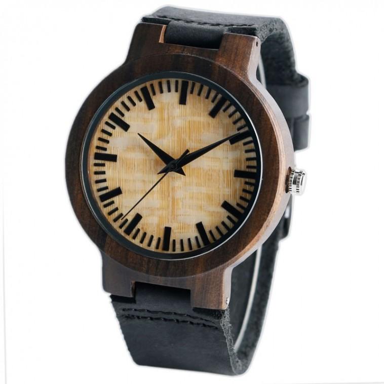 Montre Bois Homme avec bracelet cuir - Alfred