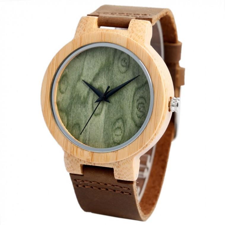 Montre Bois Homme avec bracelet cuir - Miguel