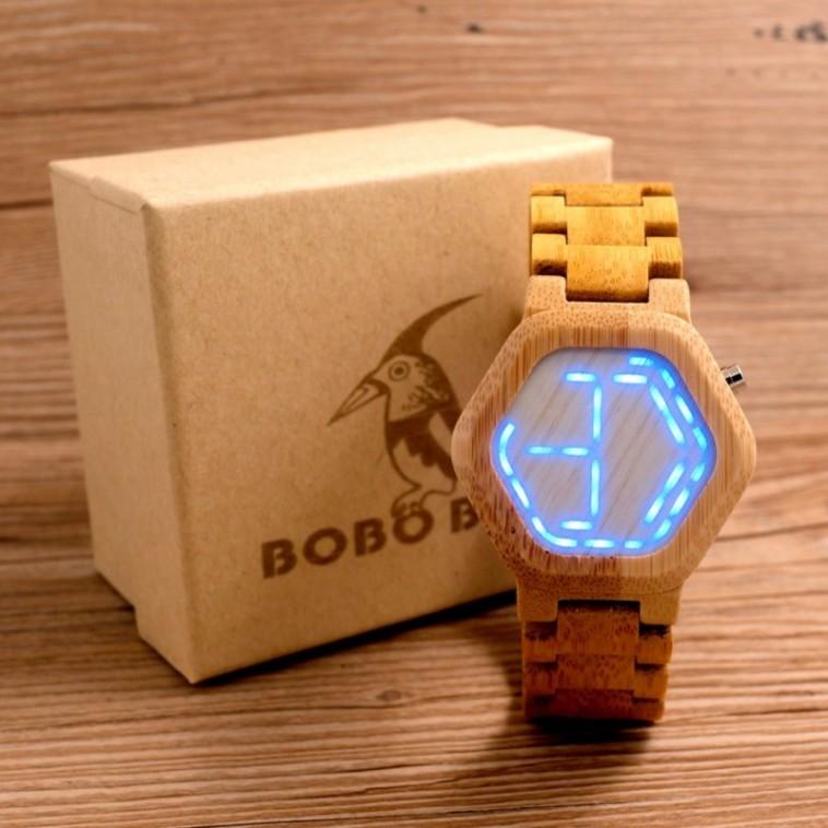 Montre Bois Homme avec bracelet bambou - Tim