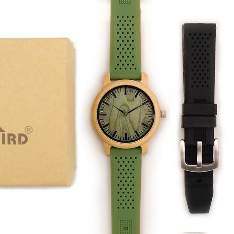 Montre Bois Homme avec bracelet silicone - Pedro