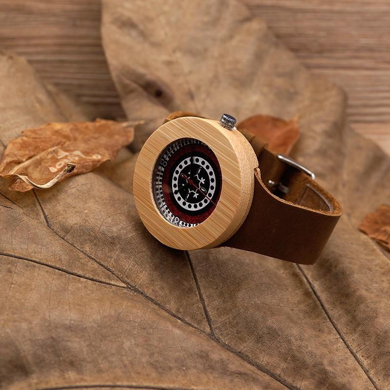 montre bois homme avec bracelet cuir tyler. Black Bedroom Furniture Sets. Home Design Ideas