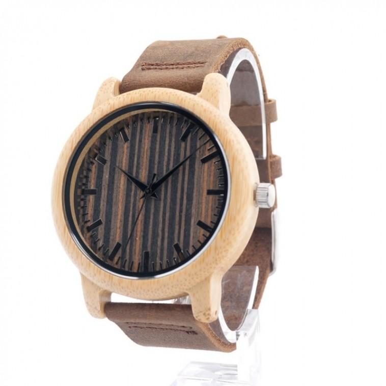 Montre Bois Homme avec bracelet cuir - Rafael