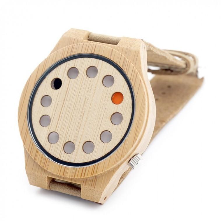 Montre Bois Homme avec bracelet cuir - Cecil