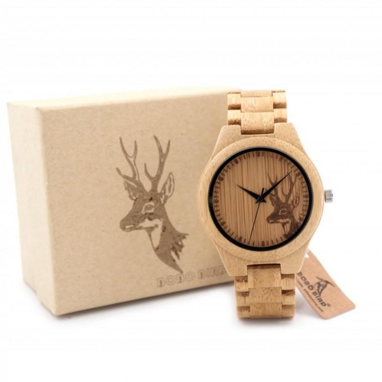 Montre Bois Homme avec bracelet bambou - Arnold