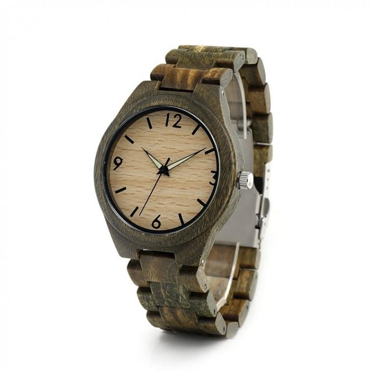 Montre Bois Homme avec bracelet cuir - Adrian