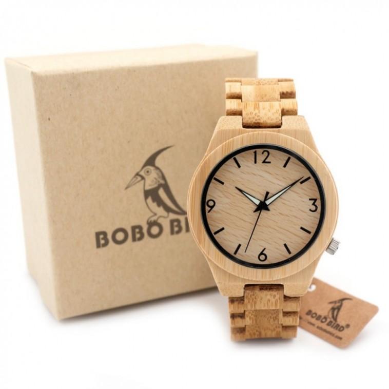 Montre Bois Homme avec bracelet bambou - Karl