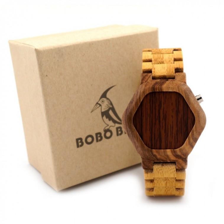 Montre Bois Homme avec bracelet bambou - Dwayne
