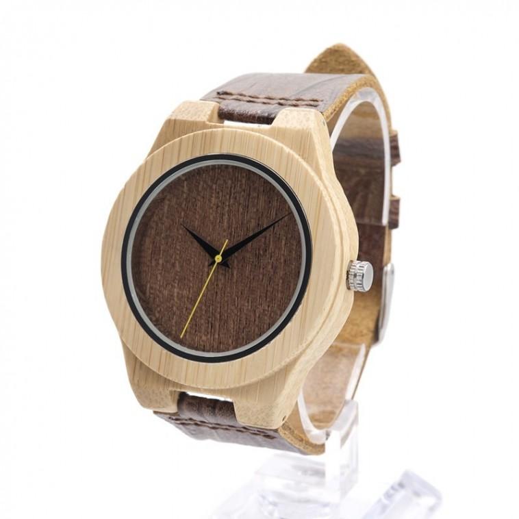 Montre Bois Homme avec bracelet cuir - Fredrick