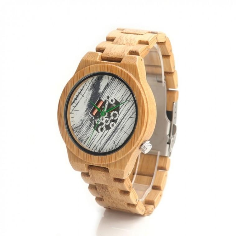 Montre Bois Homme avec bracelet cuir - Wendell