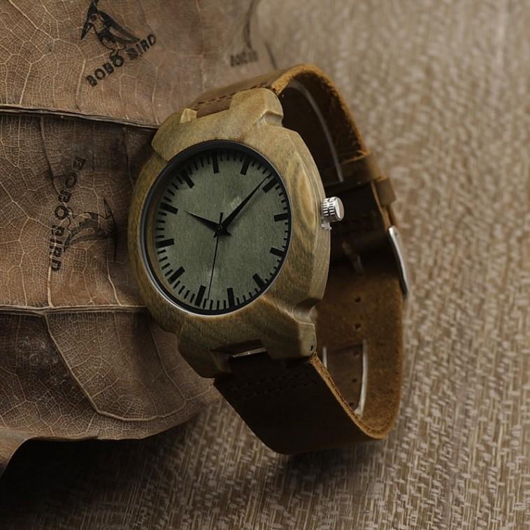 Montre Bois Homme avec bracelet cuir - Carlton