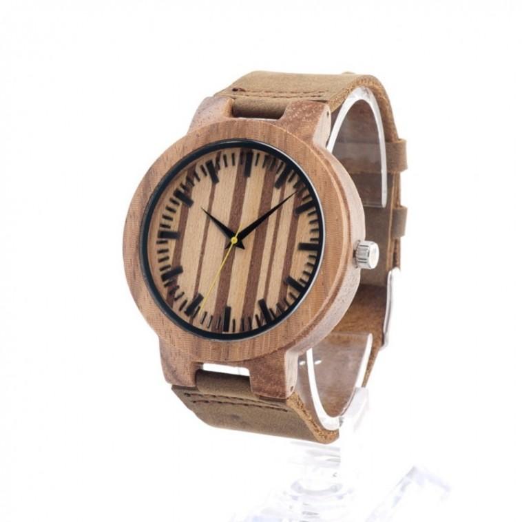 Montre Bois Homme avec bracelet cuir - Lorenzo