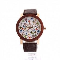 Montre Bois Femme avec bracelet cuir - Design
