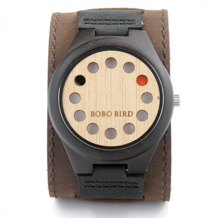 Montre Bois Homme avec bracelet cuir - Johnathan