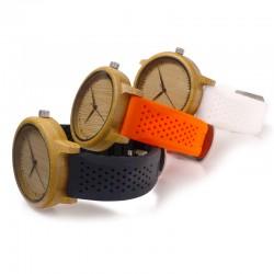 Montre Bois Homme avec bracelet silicone - Neil