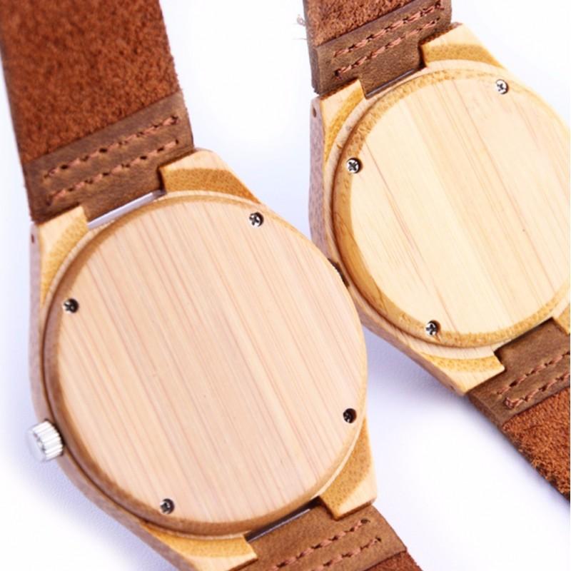 montre bois duo homme et femme avec bracelet cuir lot de. Black Bedroom Furniture Sets. Home Design Ideas