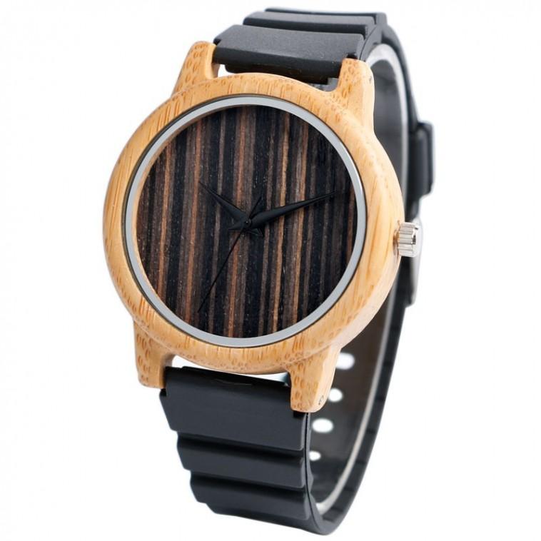 Montre Bois Homme avec bracelet silicone - Vincent
